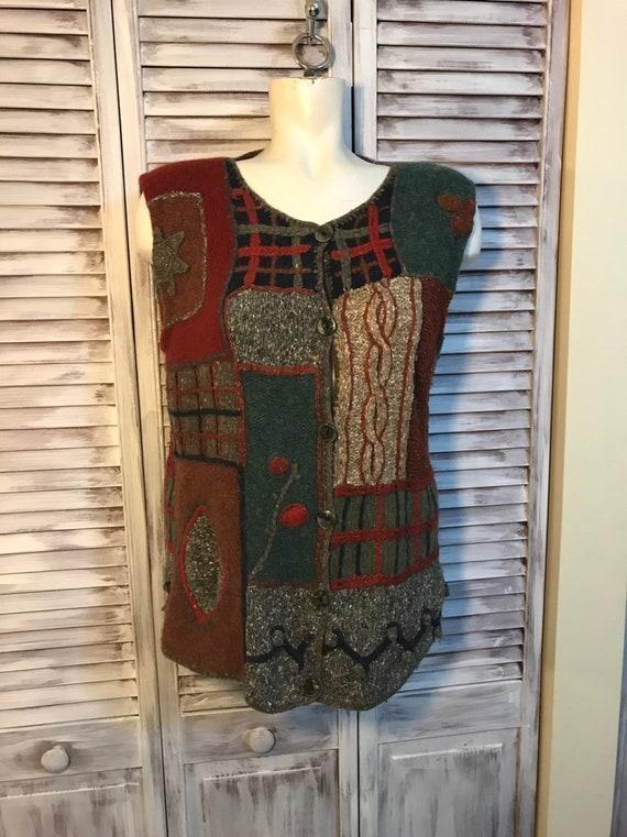 Vintage women's jacket 80s - patchwork knitting em