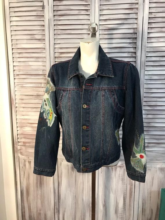 Jacket jeans - embroidery flower - dark jeans - pe