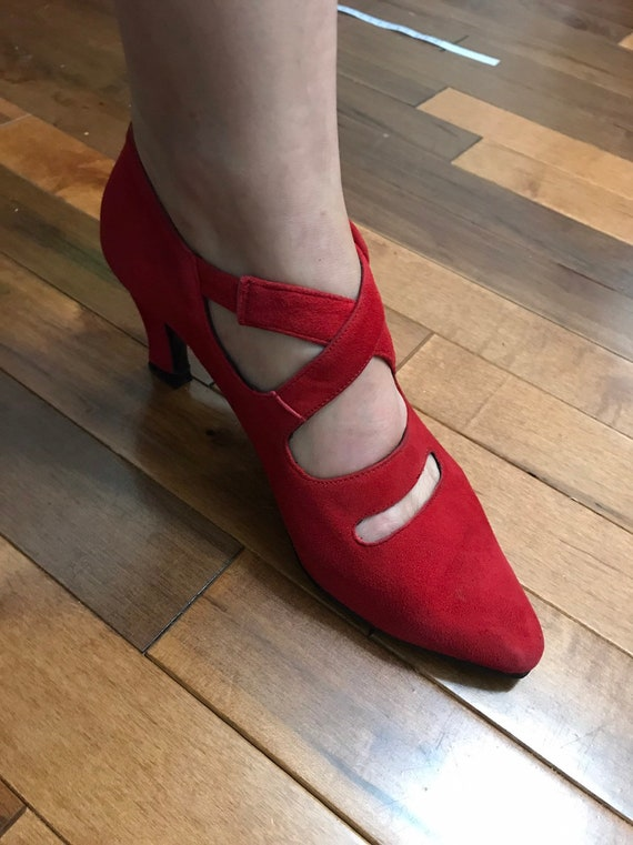 Red vintage shoes - red women's 90s suede shoes -… - image 2
