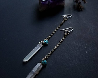 Quartz and Turquoise Dangle Earrings
