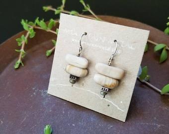 Mini Wood Opal Earrings