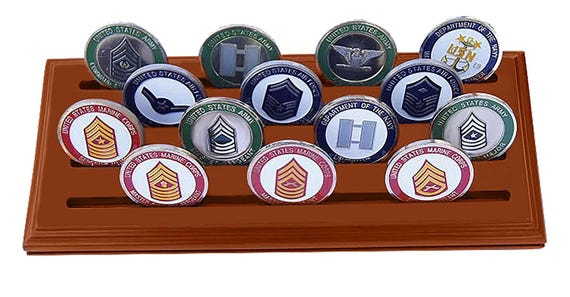 Solid Walnut DECOMIL Military Collectible Challenge Coin Holder Medium, 6 Rows