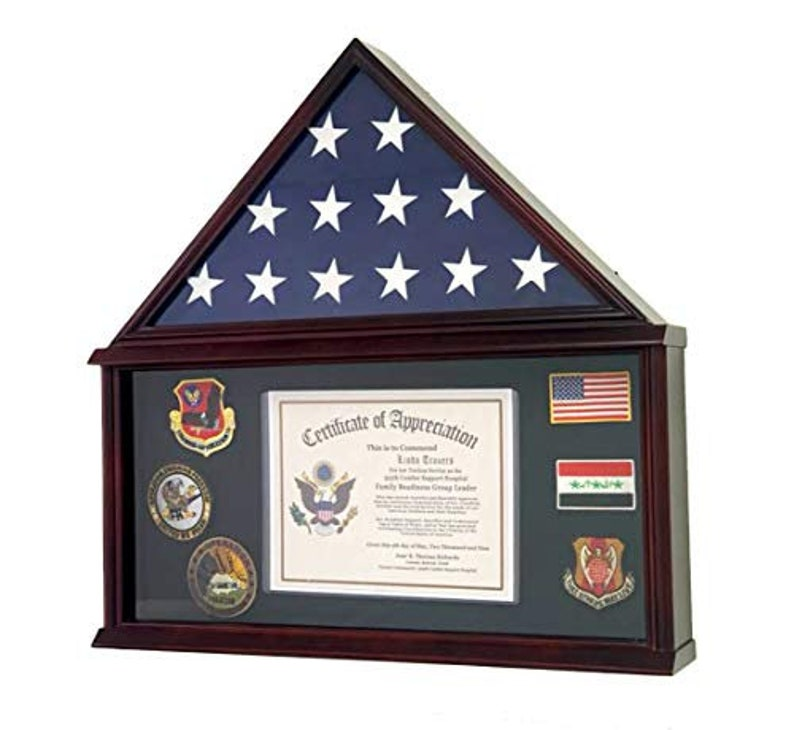 Solid Wood Cherry Large Military Shadow Box Frame Memorial Burial Funeral Flag Display Case for 5/' X 9.5/' Flag