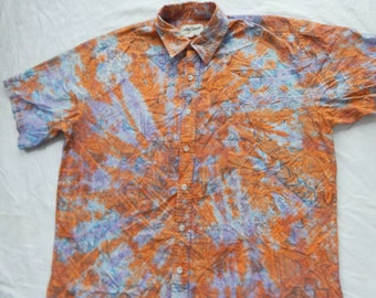53c8d7bfb708 Tie Dye Purple Orange Short Sleeve Button Down Shirt - XL Mens Psychedelic  Hand Made