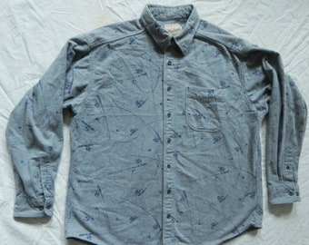 d028a0e7adf Fishing Pole Gray Chamois Cloth Flannel Shirt - XL Mens Cotton Woolrich USA  Vintage FIsh