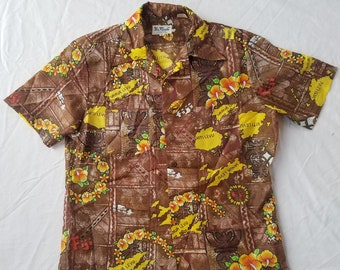 Brown Floral Short Sleeve Aloha Fiji Hawaiian Shirt - Medium Mens Vintage Beach Hawaii Islands Polyester USA