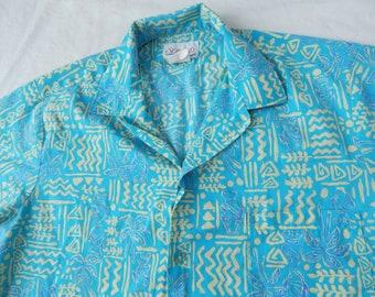 68e171175 Fish Palm Trees Hawaiian Tiki Ocean Beach Camp Shirt - Large Mens Aloha  Vintage Blue