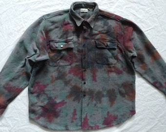 f702b3fdc2f5 Tie Dye Gray Black Long Sleeve Flannel Shirt - XL Mens Psychedelic Chamois  Hand Made