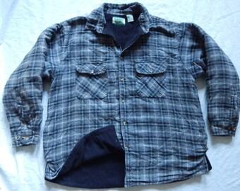 2bdf11977f Black Gray Plaid Fleece Lined Quilted Flannel Shirt - XL Mens Ozark Trail