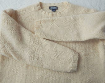 c7d536aeab Thick Wool Cable Knit Ivory White Fisherman Sweater - Large USA Lands  End