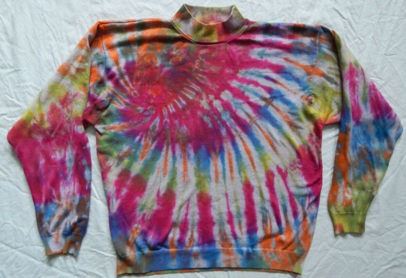 Tie Dye Blue Red Spiral Turtleneck Sweater XL Mens Hand Made Rayon Cotton
