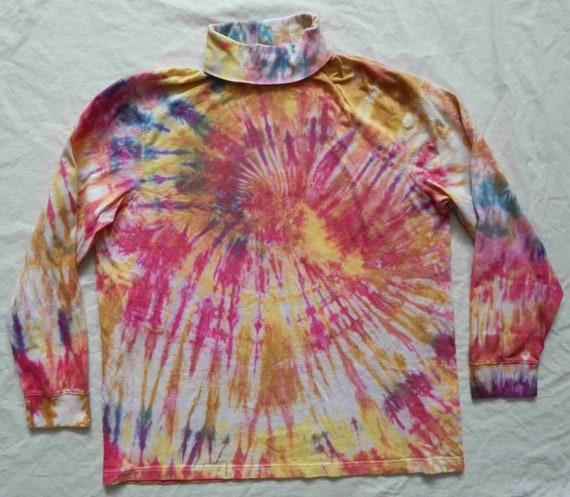 XL Womens Hand Made Cotton Rainbow Tie Dye Orange Blue Striped Long Sleeve Turtleneck Shirt