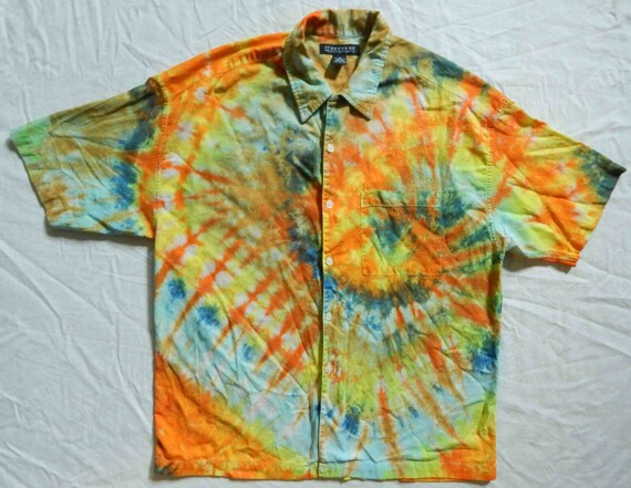 2XL Mens Psychedelic Hand Made XXL Tie Dye Orange Long Sleeve Button Up Shirt