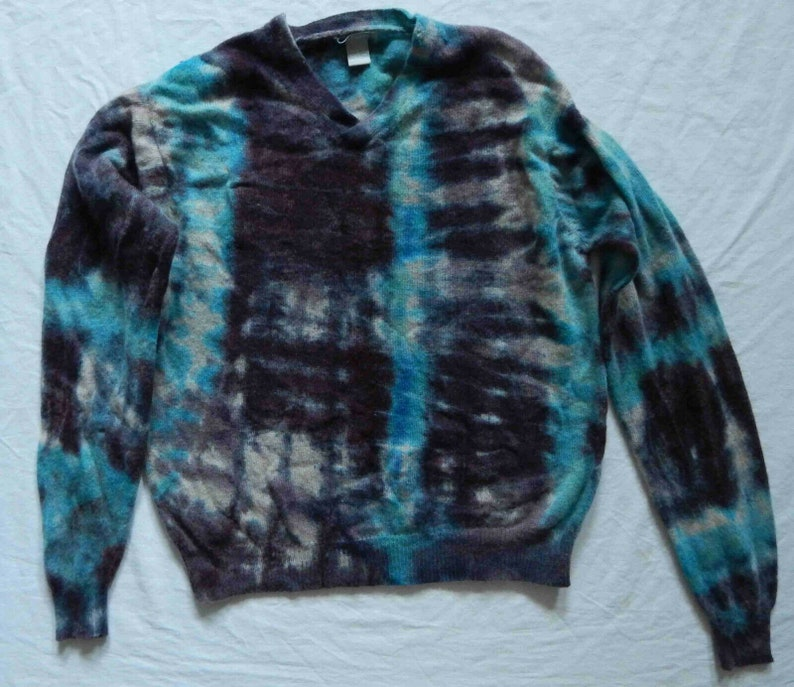 Pure Wool Tie Dye Blue Black Striped V-Neck Sweater Large Mens Hand Made Psychedelic