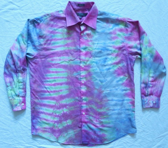 Tie Dye Blue Purple Striped Long Sleeve Button Up Shirt Large Mens Psychedelic Hand Made