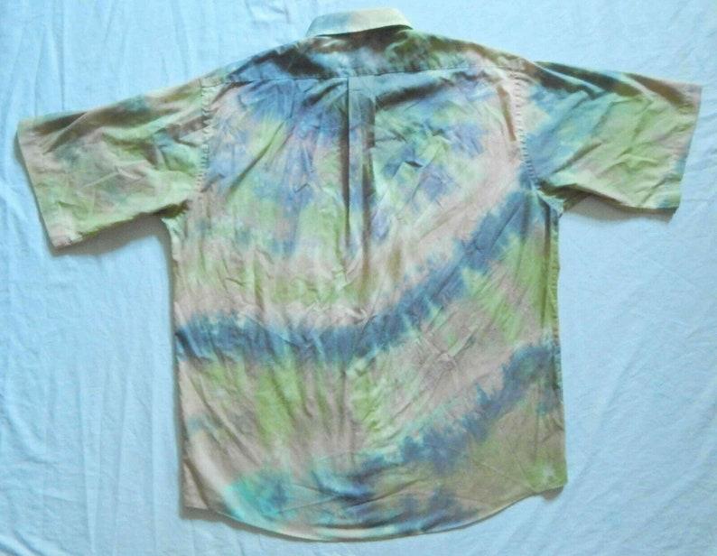 XL Mens 17.5 Hand Made Tie Dye Green Black Short Sleeve Button Down Shirt