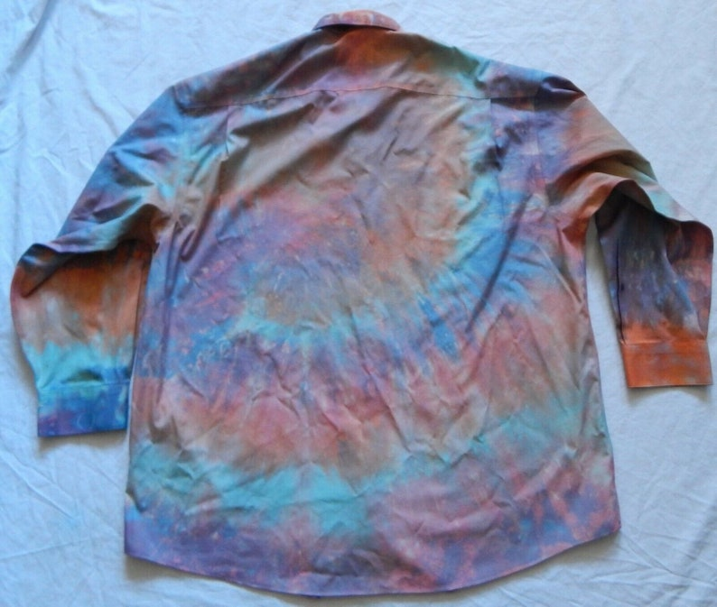 Tie Dye Orange Long Sleeve Button Up Shirt 2XL Mens Psychedelic Hand Made XXL