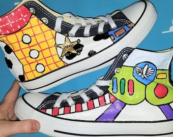fc144d4e60c6 Toy Story Hand Painted Converse High Tops