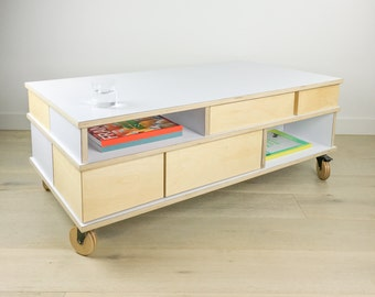 Birch Plywood Storage Coffee Table / Book & Magazine / Kids Toys / Cabinet Stores Drinking Glasses / 2 Serving Trays and Drawers / End Table