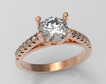 Engagement Ring Diamond Solitaire for a 0.60 carat Round Brilliant Cut Center Diamond & Accent Diamonds 0.15ct TDW Rose Gold