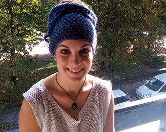 Blue dread tube. Blue dread band. Dread sock. Neck warmer. Messy bun hat.
