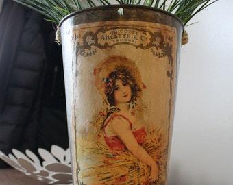 SALE! Decorative Sap Bucket - Vintage Harvest Girl - Wheat