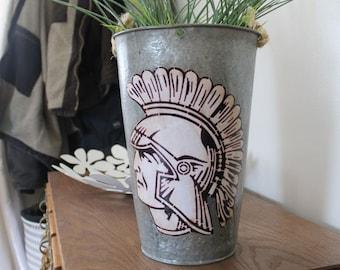 SALE! Decorative Sap Bucket - Trojan Mascot Soldier Viking Bucket Pail Planter Flower Pot Galvanized Tin