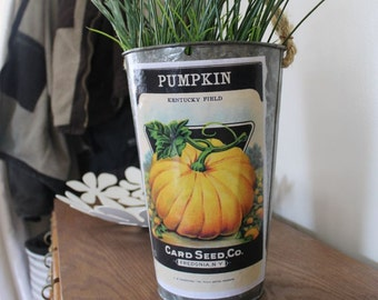 SALE! Decorative Sap Bucket - Old-Fashioned Pumpkin Seed Packet - Bucket Pail Planter Flower Pot Galvanized Tin, Halloween, Fall