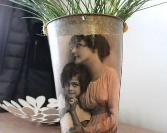 SALE! Decorative Sap Bucket - Vintage Mother Daughter Photo  Print - Woman, girl