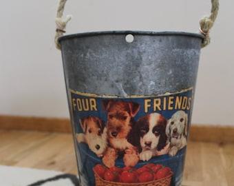 SALE! Decorative Sap Bucket - Vintage Tomato Label, Four Puppies