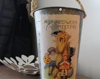 SALE! Decorative Sap Bucket - Vintage Halloween Greetings with Jack-o-Lantern