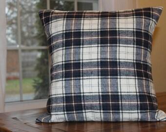 Blue Lumber Jack Plaid Pillow Cover, Throw Pillow, Plaid Pillow Cover, Cottage Decor, Country Decor