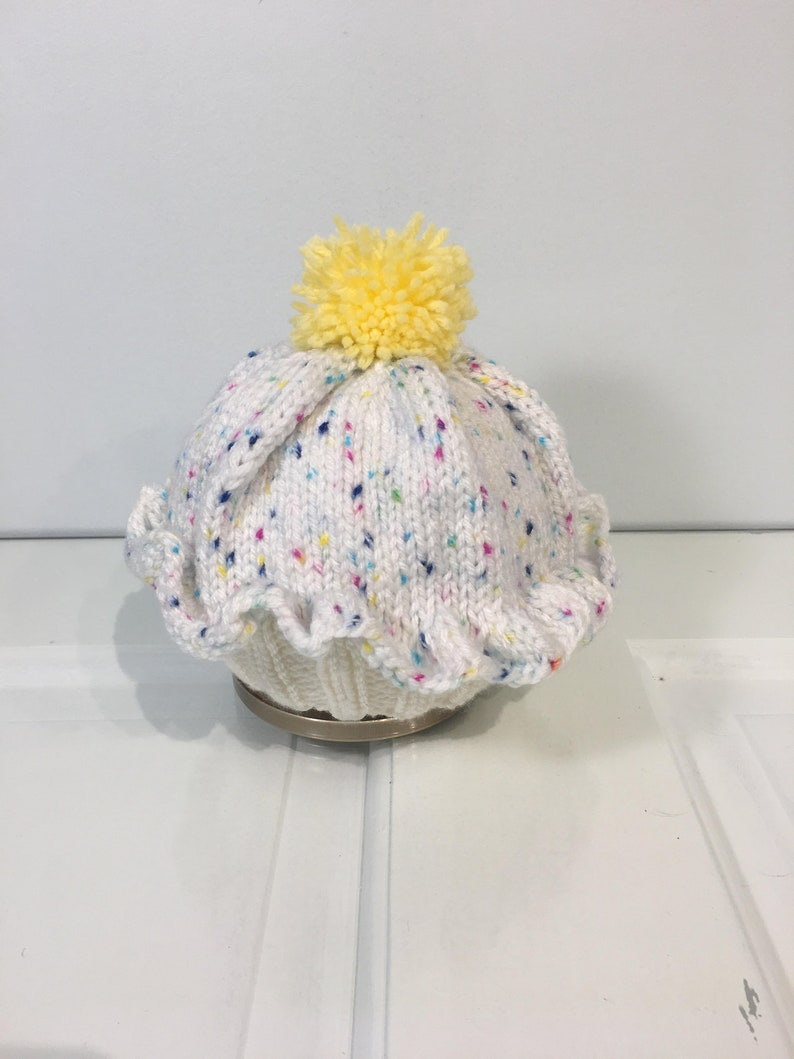 78498120413 Knitted Cupcake Baby Hat Blue Cupcake Hat with Sprinkles