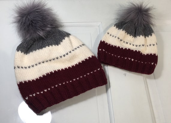 d698972332f Knitted Mommy and Me Matching Winter Hat Set Adult Baby and