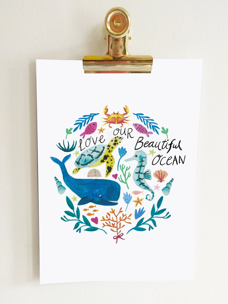 A4 'Love our beautiful ocean' print image 0