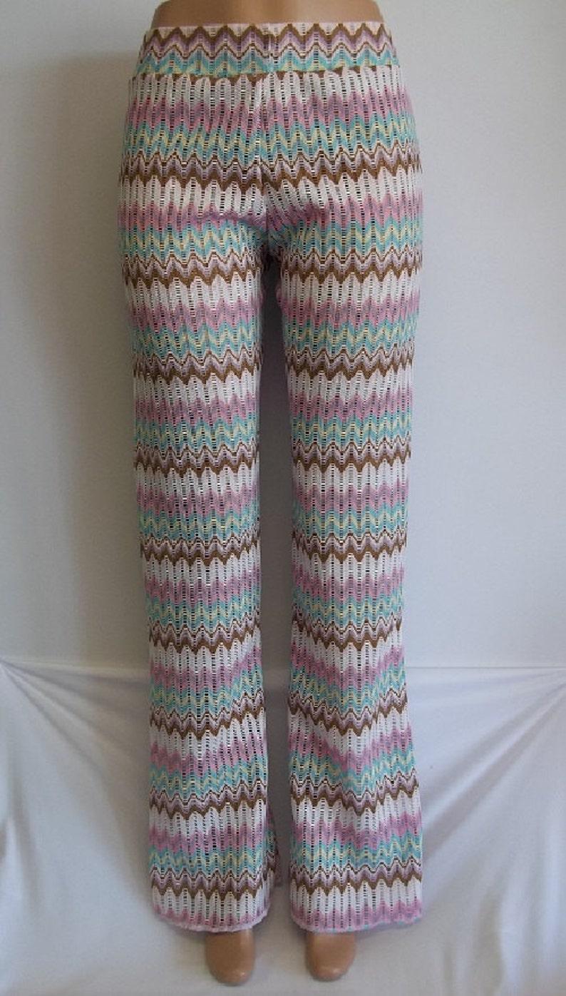 Beach Pants Stretch Knit Slight Flare Girls Women Children Jazz Rave Dance Boho Hippie Multi Color Aztec Chevron Print