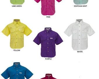 Kids Solid short sleeve monogrammed fishing shirt