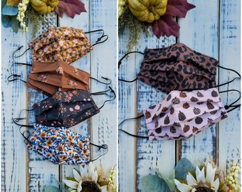 NEW Autumn Patterns! 3 Layer cotton Face Mask With Nose wire and Adjustable option Washable Made in USA Floral Fall Harvest Autumn Cheetah