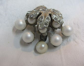 Pressed Tin and White Bead Dress Clip with Clear Rhinestones