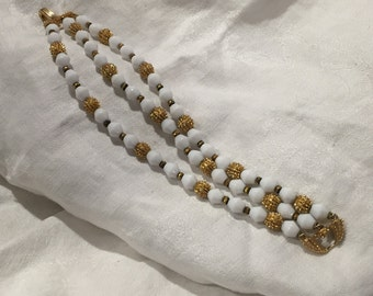Vintage signature Crown Trifari milk glass and gold spiked ball three strand bracelet