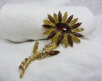 Vintage Black Eyed Susan Brown and Gold Rhinestone and Gold Tone Brooch - Pristine Condition