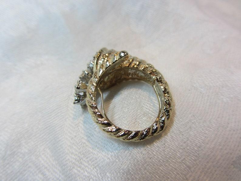Horn of PlentyCornucopia Gold Tone and Clear Rhinestone Cocktail Ring