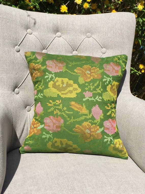 Luxury Hand Embroidered Cushion Cover Blush Pink Green Floral 43cm