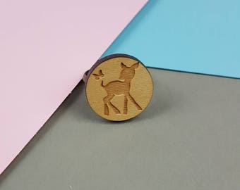 Bambi and Butterfly Wooden Ring