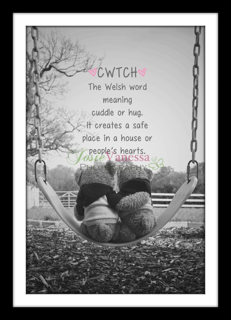 Cwtch Welsh Quote Teddy Photography Art Print And Blank Etsy