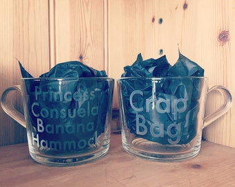 A Pair Of Glass Mugs Etched Funny Friends TV Show Quote Crap Bag and Princess Consuela Banana Hammock Wedding Anniversary Valentines Day