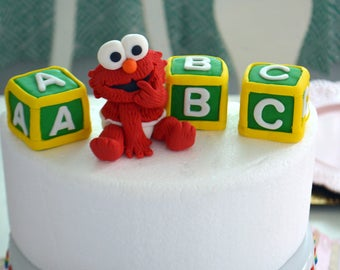 Baby Elmo With Blocks Cake Topper 100 Edible