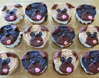 Pug Cupcake Toppers (100% Edible)