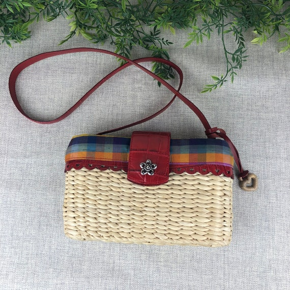 Brighton Straw Woven Bag. Straw and Leather Handba