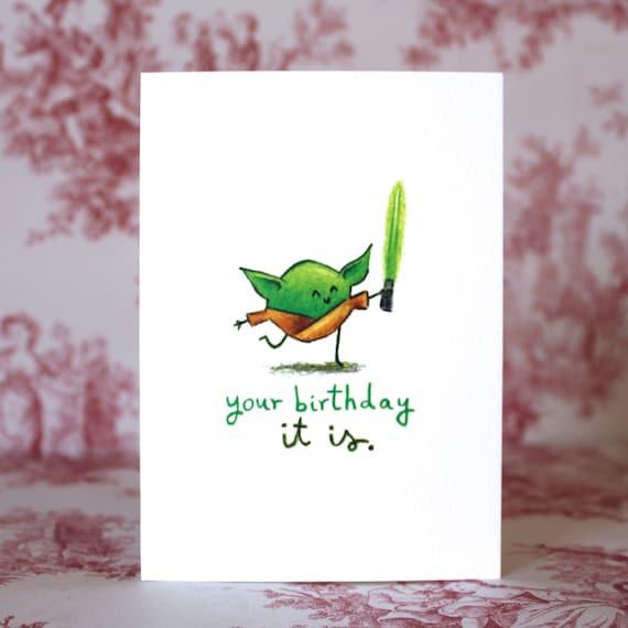 Cute Yoda Birthday Card Etsy